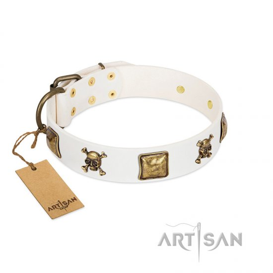 """Glo Up"" FDT Artisan White Leather Bullmastiff Collar with Skulls and Crossbones Combined with Squares"