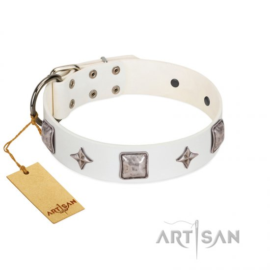 """Vanilla Ice"" FDT Artisan Handmade White Leather Bullmastiff Collar with Silver-like Adornments"