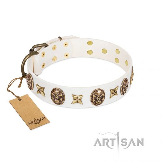 """Fads and Fancies"" FDT Artisan White Leather Bullmastiff Collar with Stars and Skulls"