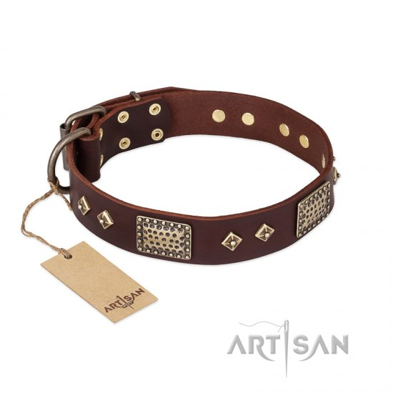 """Loving Owner"" FDT Artisan Decorated Leather Bullmastiff Collar with Plates and Studs"