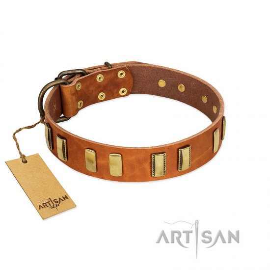 """Olive Slice"" FDT Artisan Tan Leather Bullmastiff Collar with Engraved and Smooth Plates"