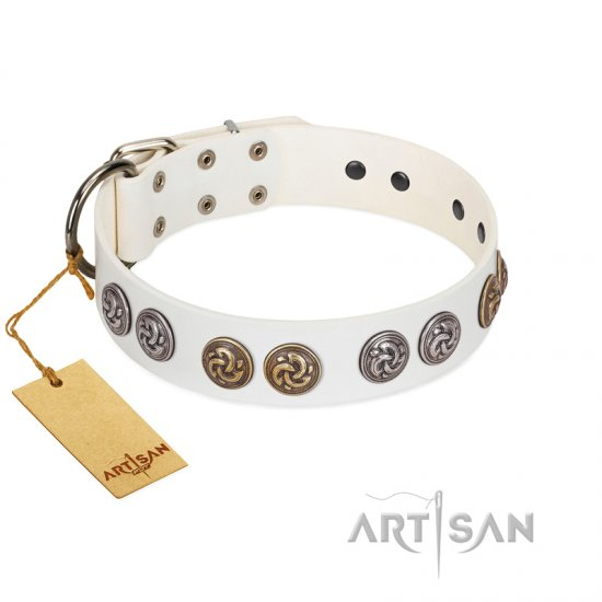 """White Moonlight"" FDT Artisan White Leather Bullmastiff Collar with Elegant Decorations"