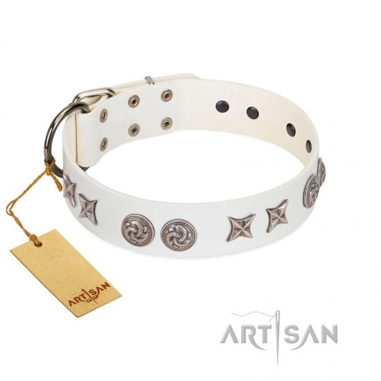 """Galaxy Hunter"" FDT Artisan White Leather Bullmastiff Collar with Engraved Brooches and Stars"