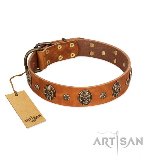 """Rockstar"" FDT Artisan Tan Leather Bullmastiff Collar with Engraved Studs and Medallions"
