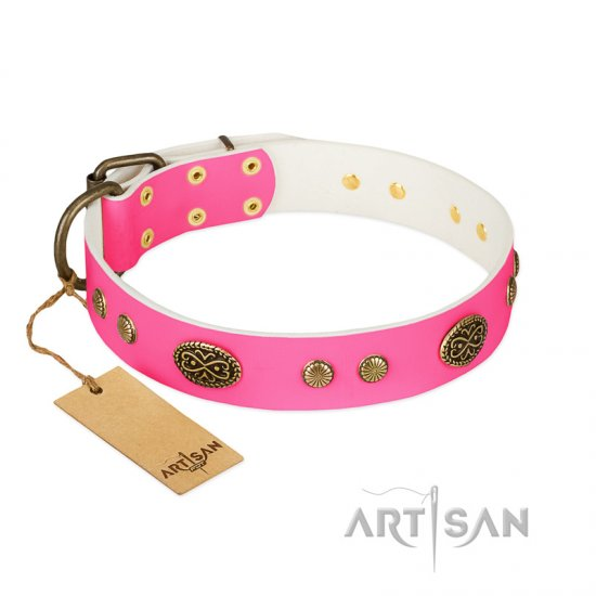 """Twinkle Pink"" FDT Artisan Pink Leather Bullmastiff Collar with Old Bronze Look Plates and Circles"