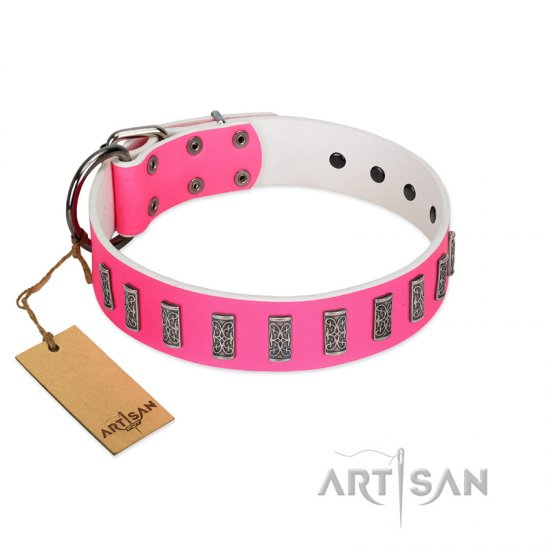 """Pink Necklace"" Handmade FDT Artisan Pink Leather Bullmastiff Collar with Silver-Like Decorations"