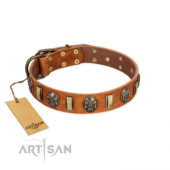 """Strike of Rock"" FDT Artisan Tan Leather Bullmastiff Collar with Plates and Medallions with Skulls"