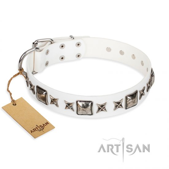 """Intergalactic Travelling"" FDT Artisan Handcrafted White Leather Bullmastiff Collar"