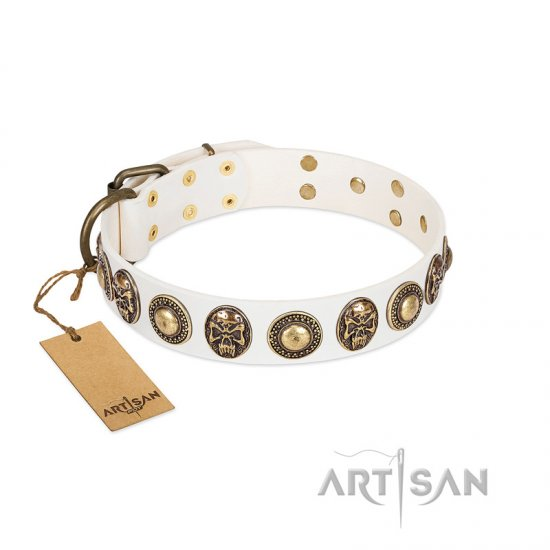 """White Delight"" FDT Artisan White Leather Bullmastiff Collar with Exclusive Embelishments"
