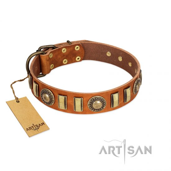 """Happy Hound"" FDT Artisan Tan Leather Bullmastiff Collar with Elegant Decorations"