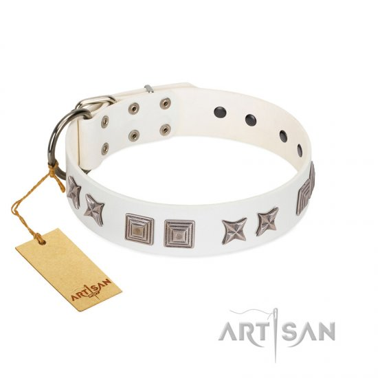 """Mister Perfection"" Designer Handmade FDT Artisan White Leather Bullmastiff Collar"