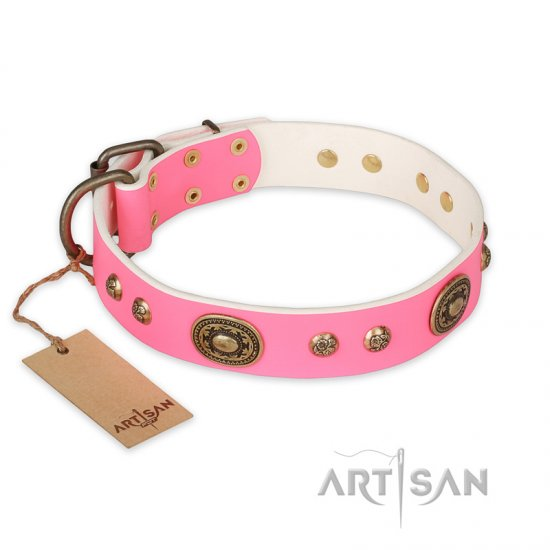 """Sensational Beauty"" FDT Artisan Pink Leather Bullmastiff Collar with Old Bronze Look Plates and Studs"