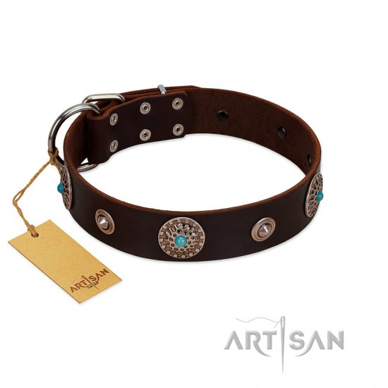 """Magic Stones"" FDT Artisan Brown Leather Bullmastiff Collar with Chrome Plated Brooches and Studs"