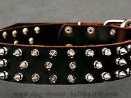 Splendid Leather Dog Collar decorated with 3 rows of silver-like spikes