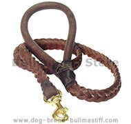 Braided Leather Dog Leash 4 foot-Braided Lead Bullmastiff