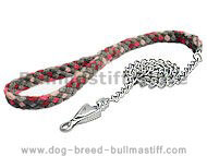 4 ft Braided nylon dog leash with chain for Bullmastiff show