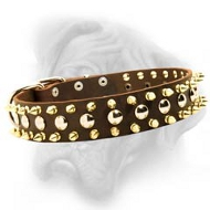 Black Leather Spiked and Studded Dog Collar for Bullmastiff