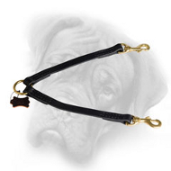 Superb Leather Bullmastiff Coupler Leash for Walking Two Dogs