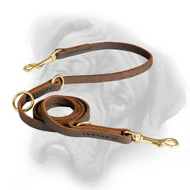 Super Strong Multitask Leather Leash for Bullmastiff Breed