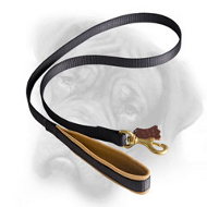 Extra Comfortable Nylon Bullmastiff Leash with Nappa Padded Handle