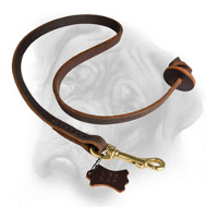 Leather Obedience Training Bullmastiff Leash with Circle Handle