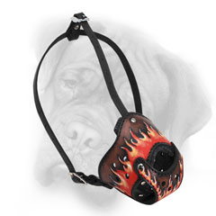 Super stylish fire flames leather dog muzzle