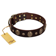 """Breaking the Horizon"" FDT Artisan Brown Leather Bullmastiff Collar with Engraved Studs and Medallions"