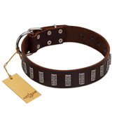 """Brown Lace"" Handmade FDT Artisan Brown Leather Bullmastiff Collar for Everyday Walks"