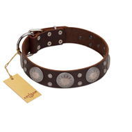 """Imperial Legate"" FDT Artisan Brown Leather Bullmastiff Collar with Big Round Plates"