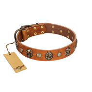 """Call of Feat"" FDT Artisan Tan Leather Bullmastiff Collar with Old Bronze-like Studs and Oval Brooches"