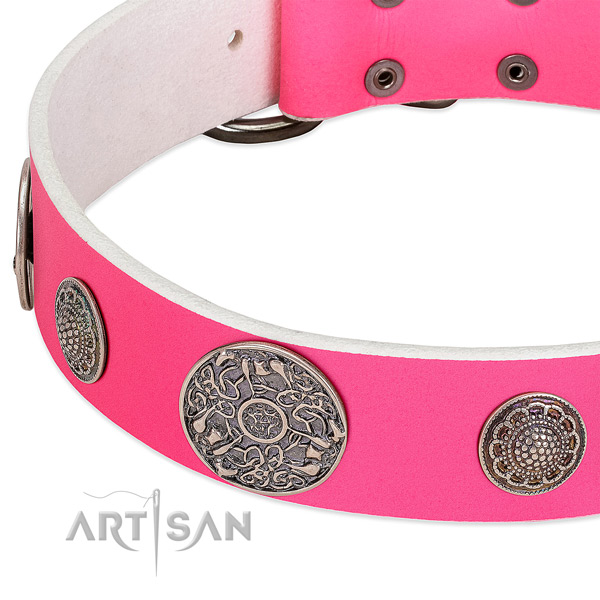 Strong D-ring on genuine leather dog collar
