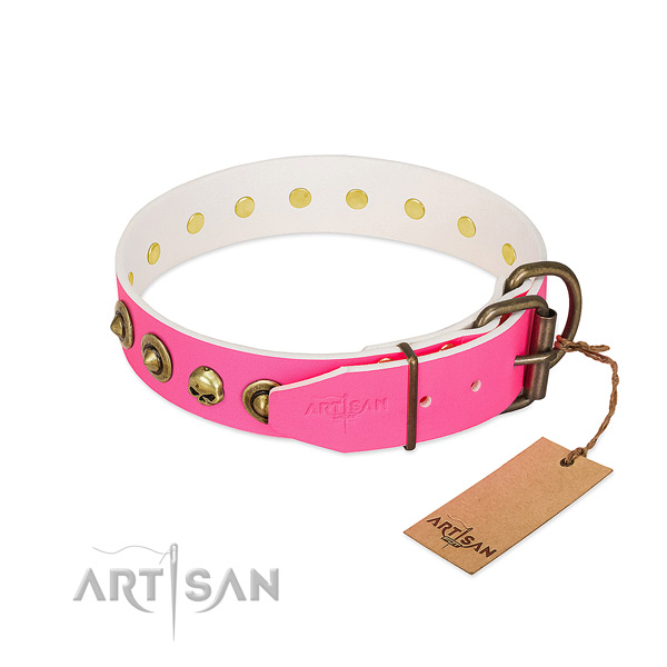 Full grain leather collar with inimitable adornments for your dog