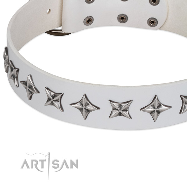 Handy use decorated dog collar of top quality full grain leather