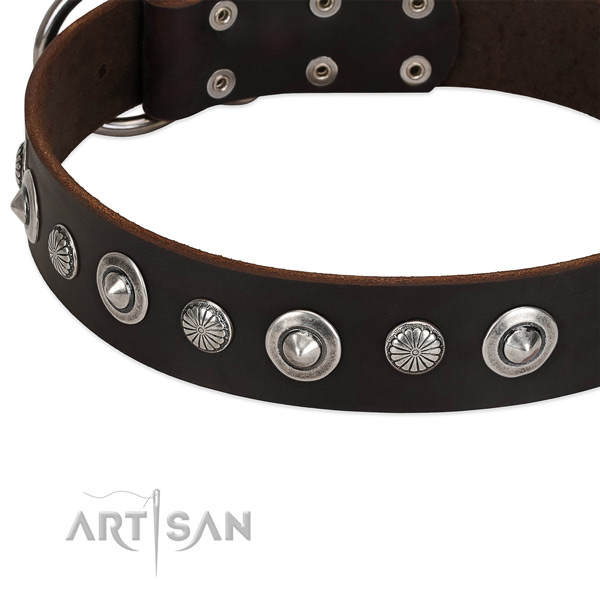 Inimitable decorated dog collar of best quality full grain genuine leather