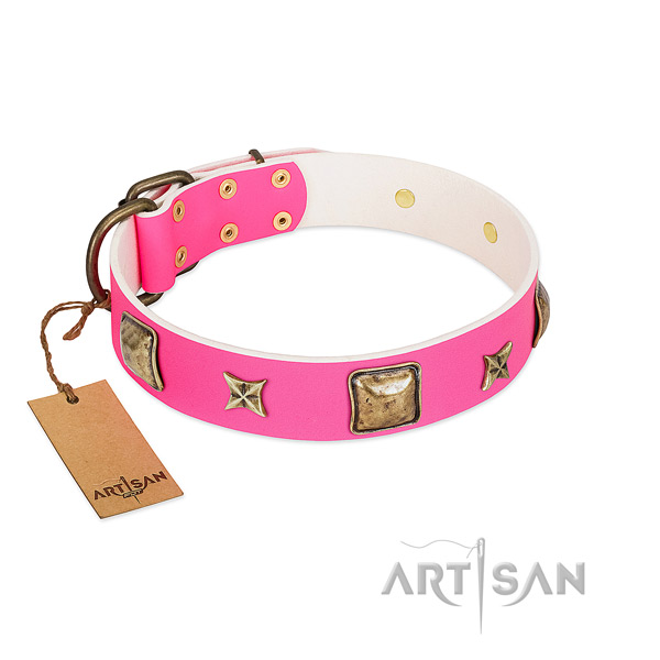Full grain genuine leather dog collar of gentle to touch material with remarkable decorations