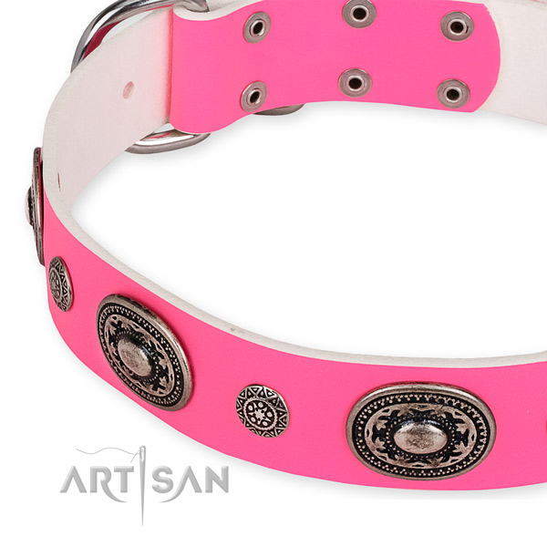 Top rate natural genuine leather dog collar made for your beautiful dog