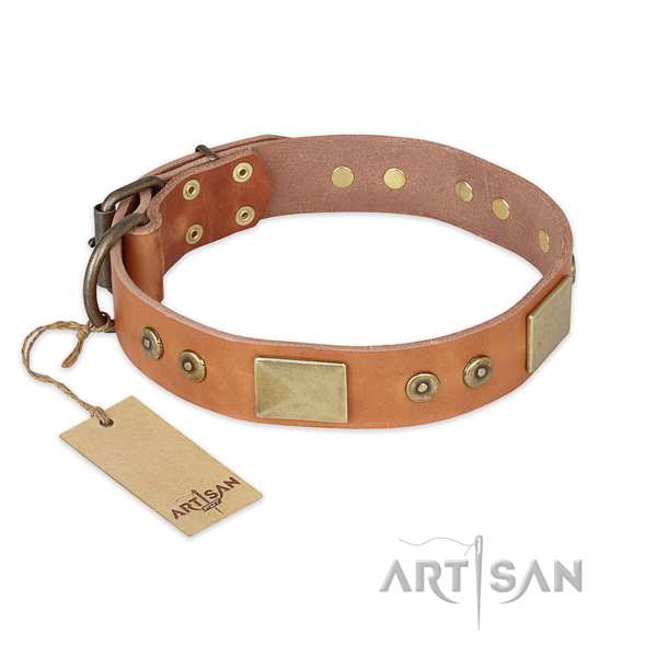 Handcrafted full grain natural leather dog collar for daily use