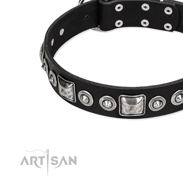 Natural genuine leather dog collar made of flexible material with decorations