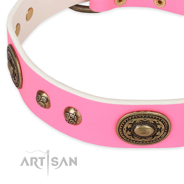 Stunning genuine leather collar for your impressive pet