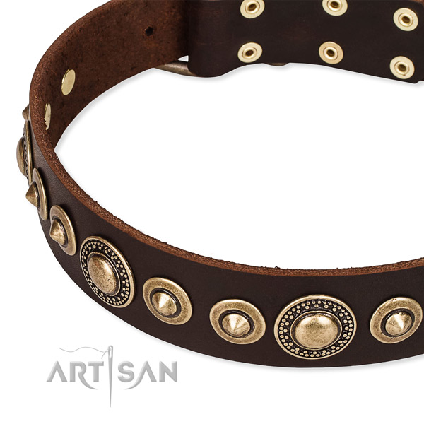 Gentle to touch genuine leather dog collar made for your beautiful doggie
