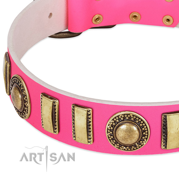 Durable natural leather dog collar for your attractive pet