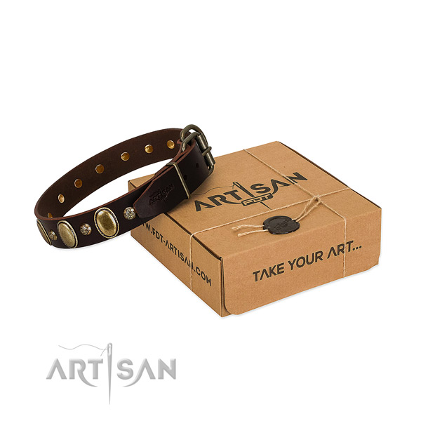 Adjustable full grain natural leather dog collar with rust resistant traditional buckle