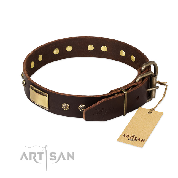 Awesome genuine leather collar for your doggie