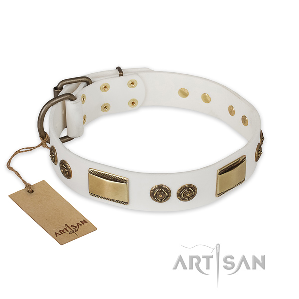 Stylish design full grain leather dog collar for daily use
