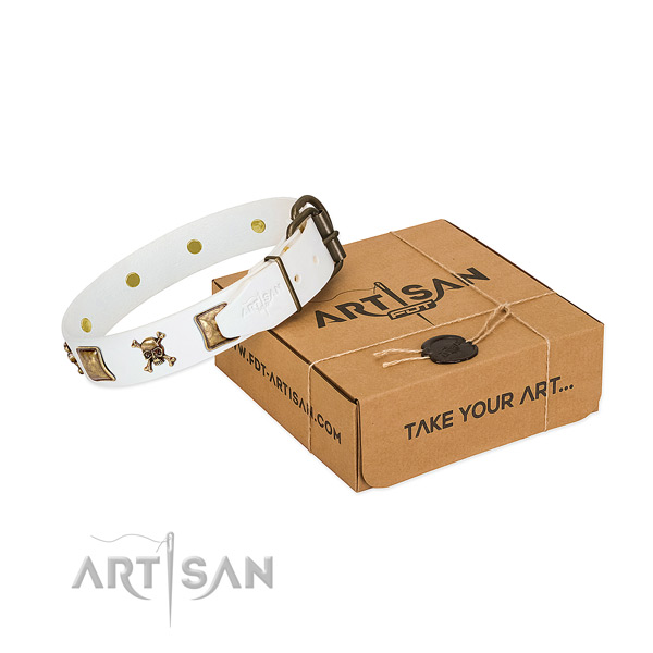 Everyday use reliable full grain leather dog collar with adornments