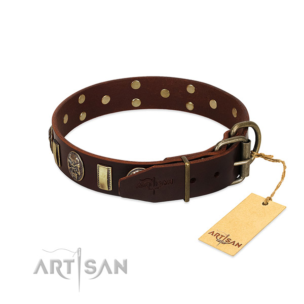 Full grain leather dog collar with rust resistant hardware and embellishments