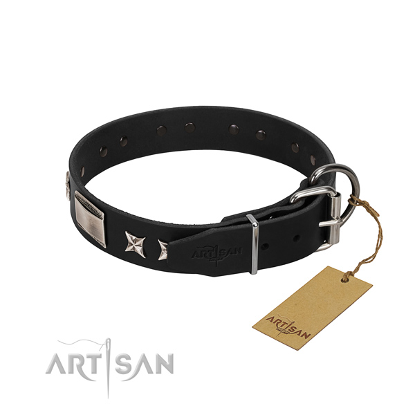 Gentle to touch full grain leather dog collar with rust resistant buckle