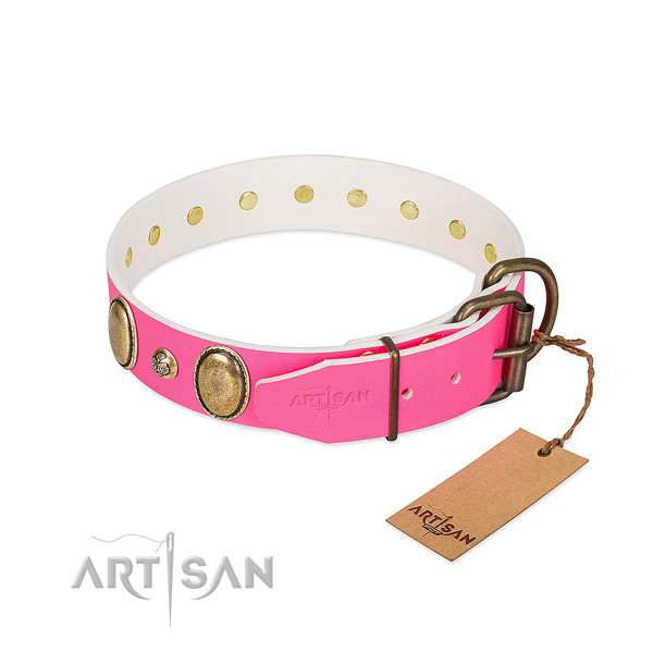 Comfortable wearing flexible genuine leather dog collar