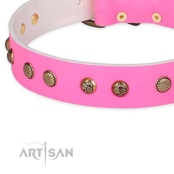 Natural genuine leather collar with reliable traditional buckle for your stylish canine