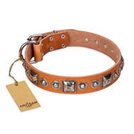 """Era of Future"" FDT Artisan Handcrafted Tan Leather Bullmastiff Collar with Decorations"